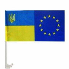 Авто флажок + авто флагшток (Украина + Євро) полиэстер 26*37 см.
